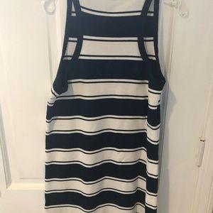 Jcrew dark navy striped cotton tank dress!